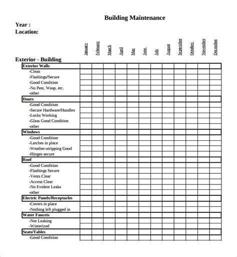 home repair checklist template sle maintenance checklist template 9 free documents in pdf