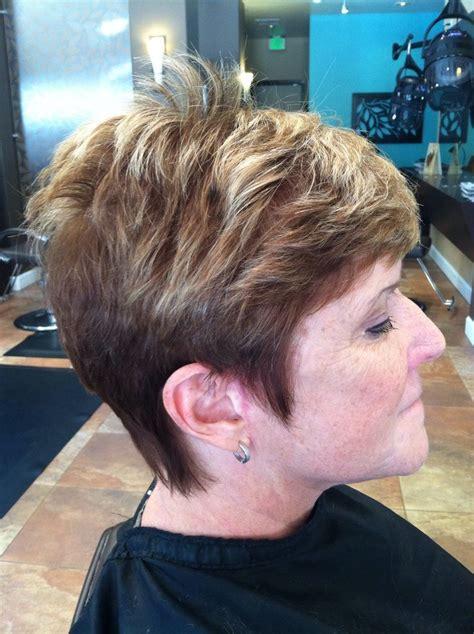 partial highlight  pixie cut hair pinterest