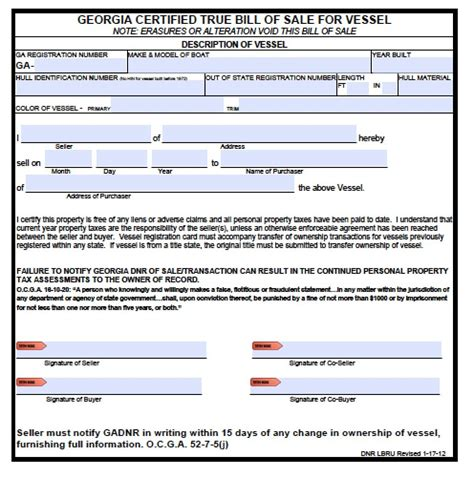 Boat Registration Qld Transfer Form by Free Georgia Boat Bill Of Sale Form Pdf Word Doc