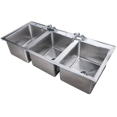 commercial 3 compartment sink faucet regency 16 quot x 20 quot x 12 quot 16 gauge stainless steel three