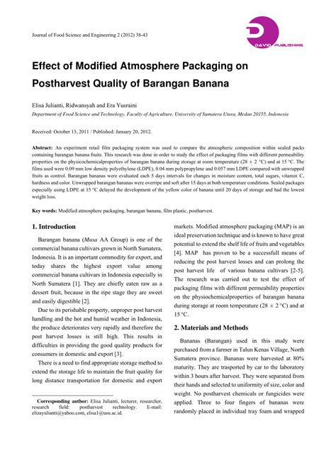 Modified Atmosphere Packaging Quality by Pdf Effect Of Modified Atmosphere Packaging On