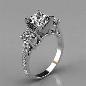Three stone princess cut engagement ring with accents for Three stone wedding ring set