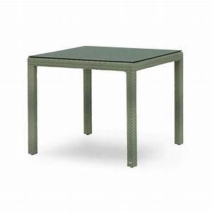Table De Jardin Tressé : table de jardin carr e en aluminium et r sine tress e ~ Nature-et-papiers.com Idées de Décoration