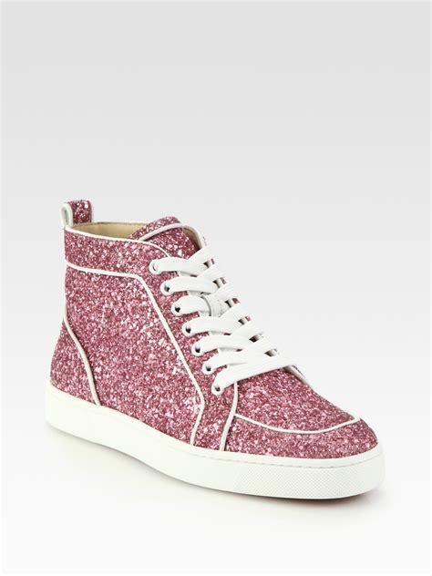 Christian Louboutin Rantus Orlato Glitter Sneakers in Pink