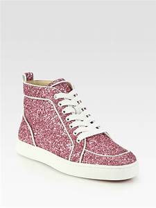 Christian Louboutin Rantus Orlato Glitter Sneakers in Pink | Lyst