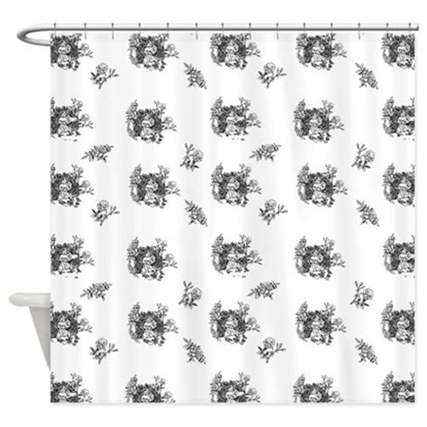 black and white floral toile shower curtain by
