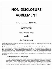 non disclosure agreement template word excel formats With letter of confidentiality and nondisclosure template