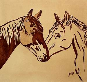 Two Horses Love Original Coffee Painting Painting by ...