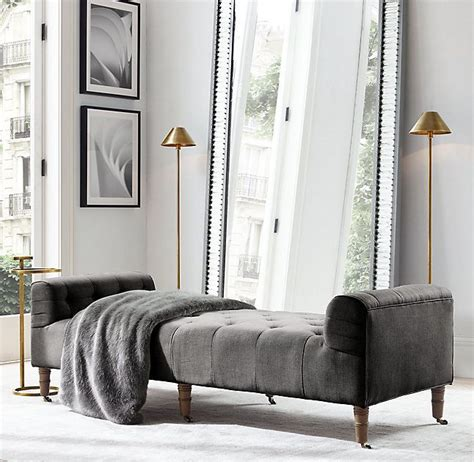Camille Tufted Settee by Rh S Camille Tufted Settee The Backless Button Tufted