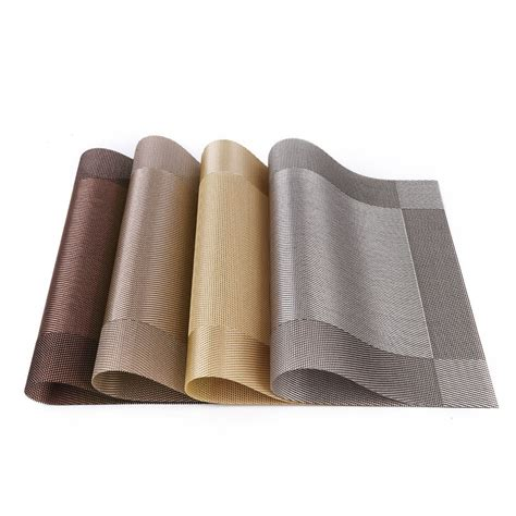 Table Mats - set 4 pvc dining room weave woven placemats table heat
