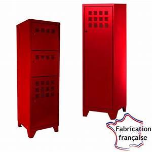 Casier Industriel Metal : casier m tal haut rouge style industriel so french deco ~ Teatrodelosmanantiales.com Idées de Décoration