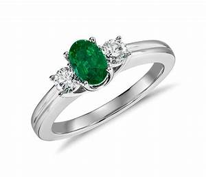 Petite emerald and diamond ring in 18k white gold 6x4mm for Emerald and diamond wedding ring