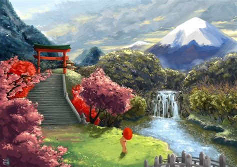 art asia umbrella landscape geisha cherry wallpaper