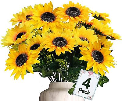 TURNMEON Artificial Sunflowers Bouquet Decor, 4 Bunches ...