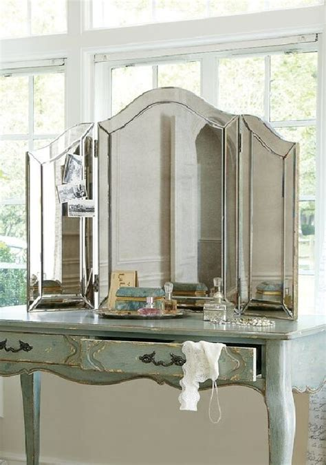 Glass Mirror Vanity Table by New Venetian Style Antiqued Glass Trifold Vanity Table Top