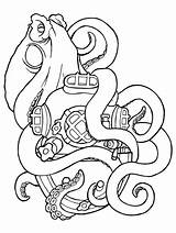 Squid Coloring Sisters Octopus Animal Tattoo Tattoos Tentacles Aquatic Giant Printable Colossal Sea sketch template