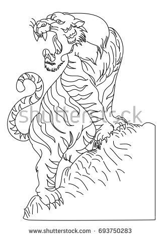 Outline Doodle Art Tiger Vector On Stock Vector 693750283 - Shutterstock