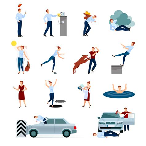 Personal accident insurance covers medical expenditure incurred towards accidental injuries leading to death and disabilities. Accidents Injuries Dangers Decorative Icons Set - Download Free Vectors, Clipart Graphics ...