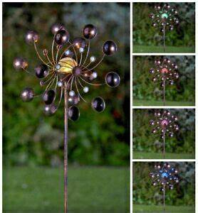 Bronze Solar Stake Lights Solar Powered Led Bronze Wind Spinner Multi Colour Lights