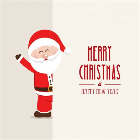 merry christmas background with a smiling santa claus vector free download