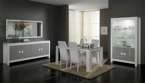 salle a manger complete 8 pieces pisa laqu 233 e bicolore blanc gris