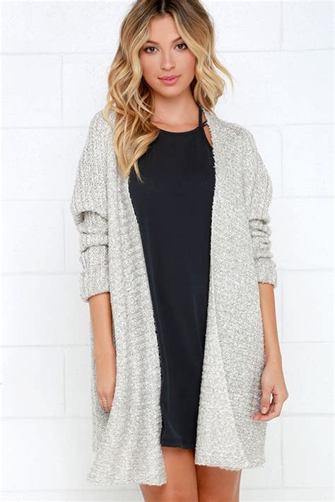 Light Cardigan by Cozy Light Grey Cardigan Sweater Open Front Sweater 60 00