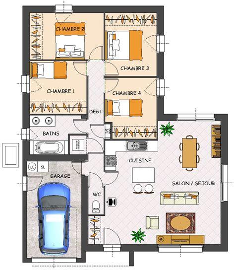 plan maison plain pied 4 chambres garage construction maison neuve satine lamotte maisons