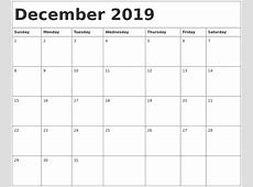 December 2019 Calendar Template 2018 calendar printable