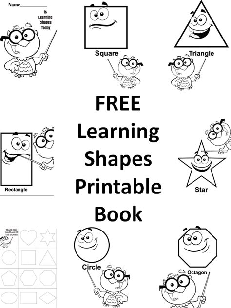 free how to draw shapes printable book for preschool 893 | Learning Shapes Printable Book PNG