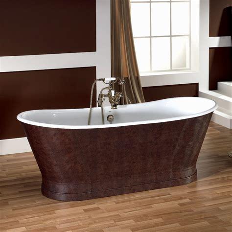bagno in vasca vasca da bagno in ghisa con copertura esterna in cuoio elsie