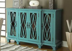 Hotel Surplus Teal Wood Glass Accent Cabinet