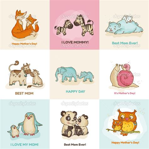 mother animal illustrations  stock