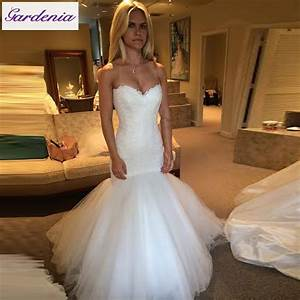 modest real mermaid wedding dresses lace bridal gown tulle With lace top tulle bottom wedding dress