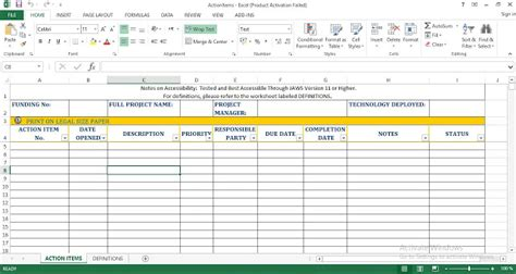 action items excel templates engineering management