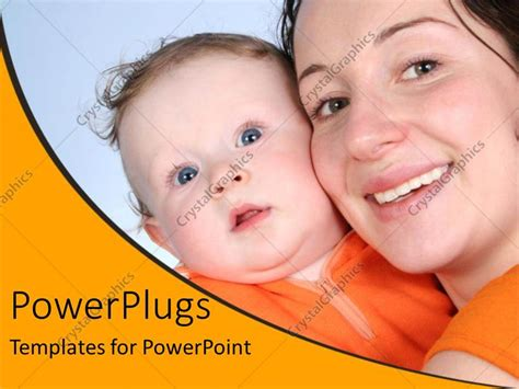 powerpoint template mother  baby happy smiling orange
