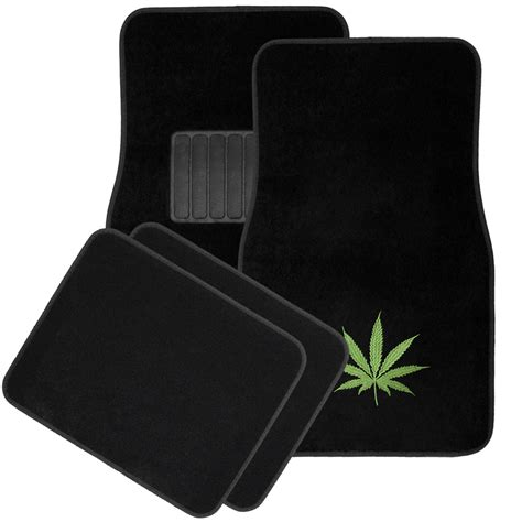 car floor mats 4pc green 420 marijuana pot leaf cannabis carpet car