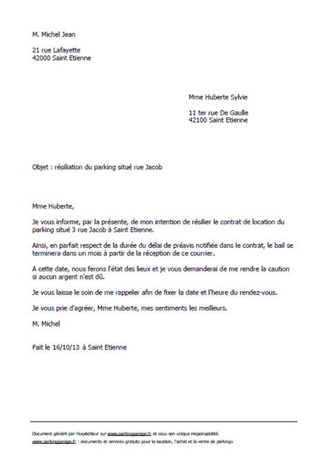 modèle lettre résiliation bail zone tendue lettre type gratuite de r 233 siliation d un bail de parking