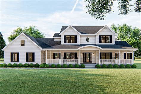 Plan 62580DJ: 4 Bed Farmhouse Plan with 2 Story Family