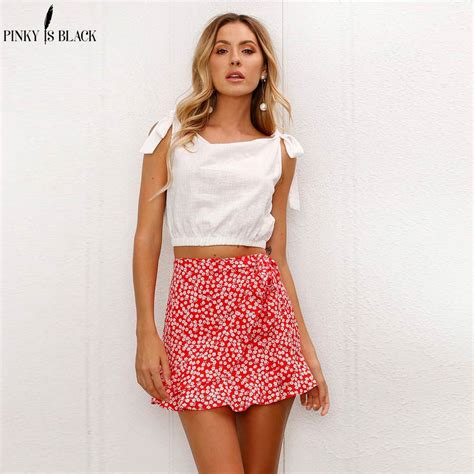 Pinkyisblack Red Wrap Skirts Womens Floral Print Summer