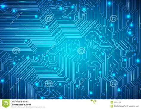 Circuit Board Vector Blue Background Stock Image