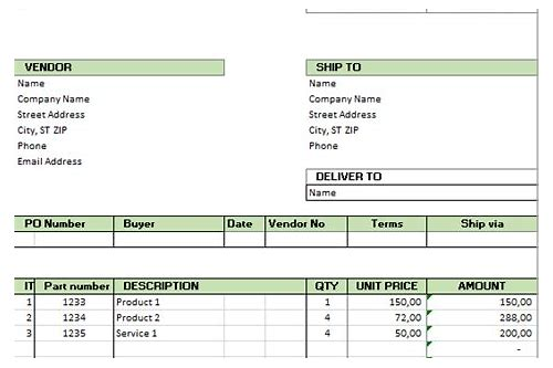 download format of purchase order in excel