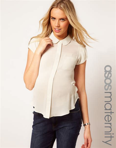 maternity blouses asos maternity blouse with pan collar and balloon