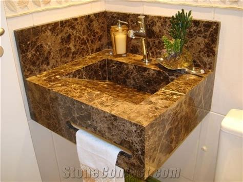 Marron Imperial Marble Solid Bath Sink, Vanity Top