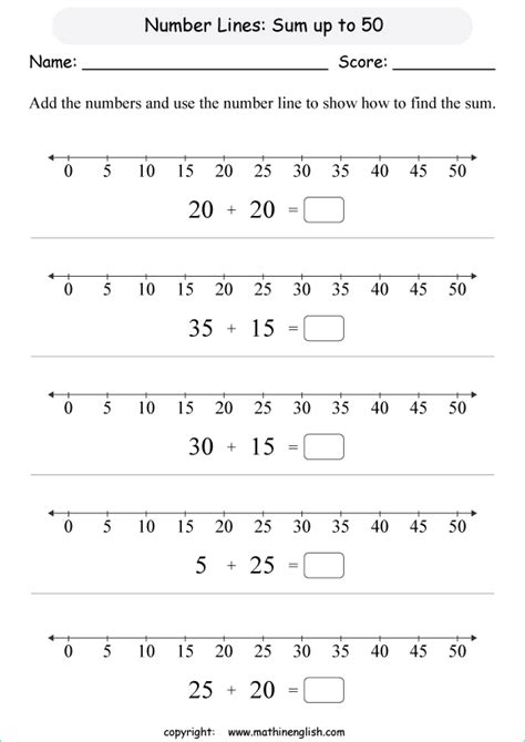 Use The Number Lines And Complete The Addition Sentences Great First Grade Addition Worksheet