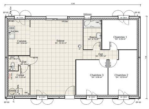 plan maison plain pied 100m2 3 chambres plan maison plain pied 3 chambres 100m2 plan maison