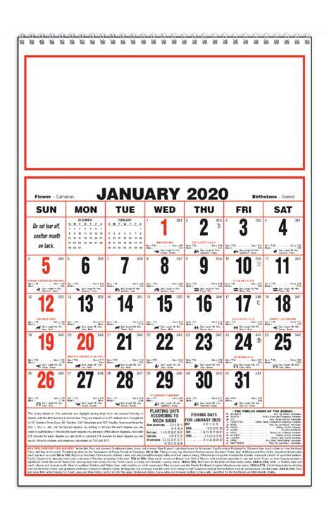 almanac calendarlarge spiral imprinted almanac