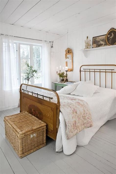 White Vintage Bedroom  Rustic Farmhouse Living Pinterest