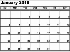 Calendar 2019 January Printable Template Free Printable