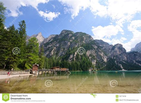 Lake Braies Dolomites Italy Stock Photo Image Of