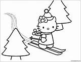 Hello Kitty Skiing Pages Coloring sketch template